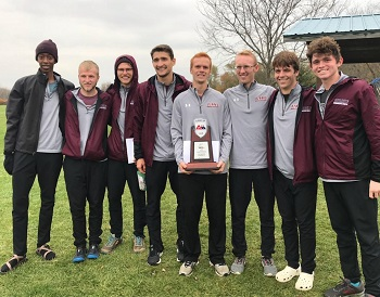 Men''s cross country team holding their 2nd place trophy