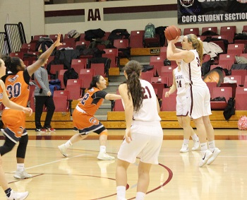 #30 Lakin Simmerman shooting a three-point shot against Northern New Mexico College