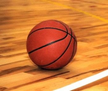 basketball sitting on the hardwood