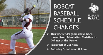 Baseball schedule changes announcement w/ pic of batter swinging