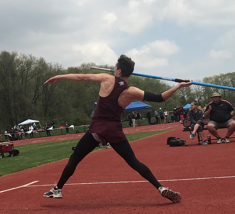 Miles Mrowiec throwing the javelin