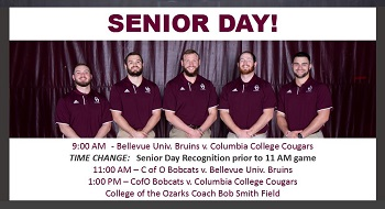 Picture of seniors w note as to schedule for day 2 of Tri-Match