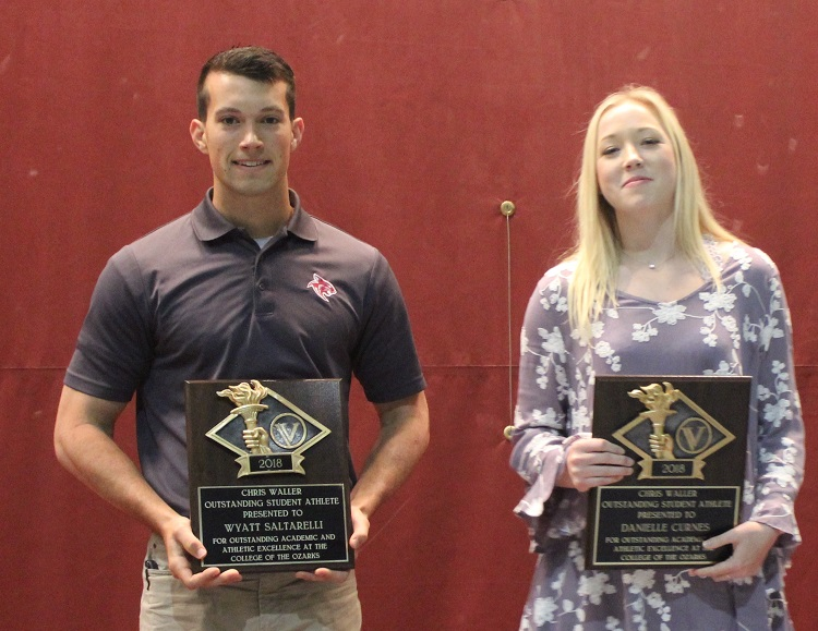 Wyatt Saltarelli and Danielle Curnes holding their Outstanding Student Athlete Awards