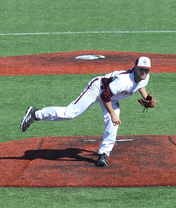 CofO''s Collan Thrasher pitching on February 2, 2018