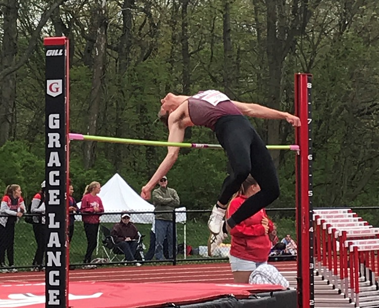 Kyle Kapella competing in the high jump at the NCCAA Nationals