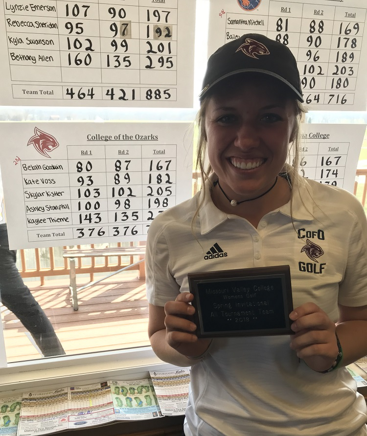 Bekah Goodwin holding her plaque for 2nd place with scoring sheets in the background