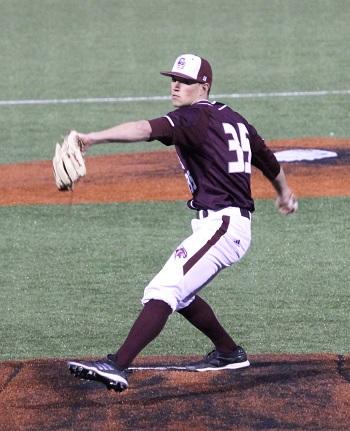 #35 Wyatt Saltarelli on the mound pitching