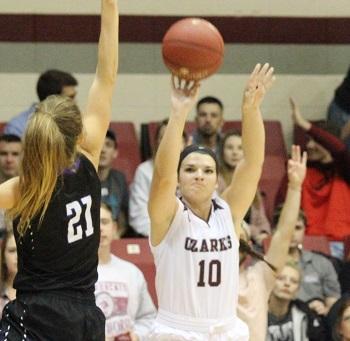 Ashley Forrest taking a three point shot