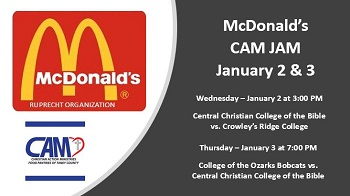 Promo with details of games and McDonalds and CAM logos