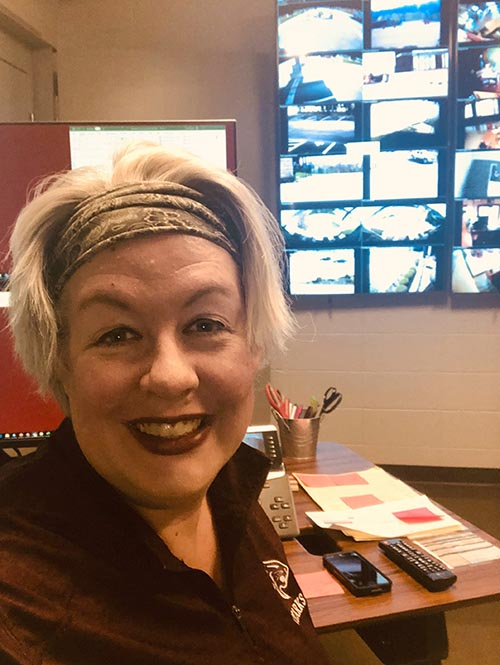 Stacy McNeill, division chair for performing and communication arts, volunteers to answer calls in the switchboard. McNeill has assisted with phone calls to students, crisis communication, and is helping the faculty launch online learning next week.