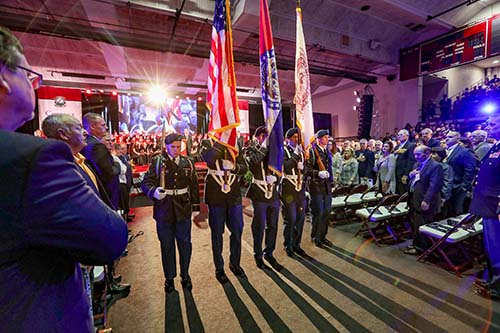 College of the Ozarks Bobcat GOLD members present the colors before former White House Press Secretary Sarah Huckabee Sanders speaks to the community. (Photo by Kevin White)