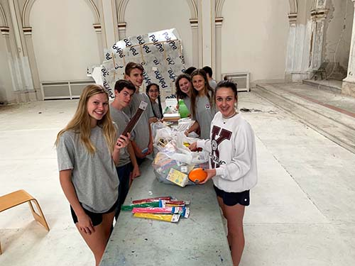 S of O students prepare for art supplies distribution