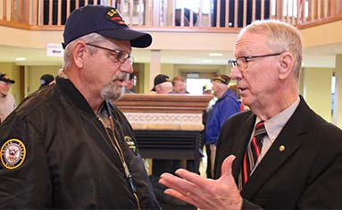 President Davis and Vietnam Veteran visit during service held at C of O on March 29, 2018
