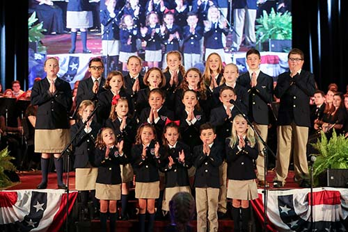 Elementary school students from School of the Ozarks sing a song about the Bill of Rights.