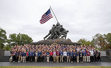 Group pic at US Marine Corps Memorial.