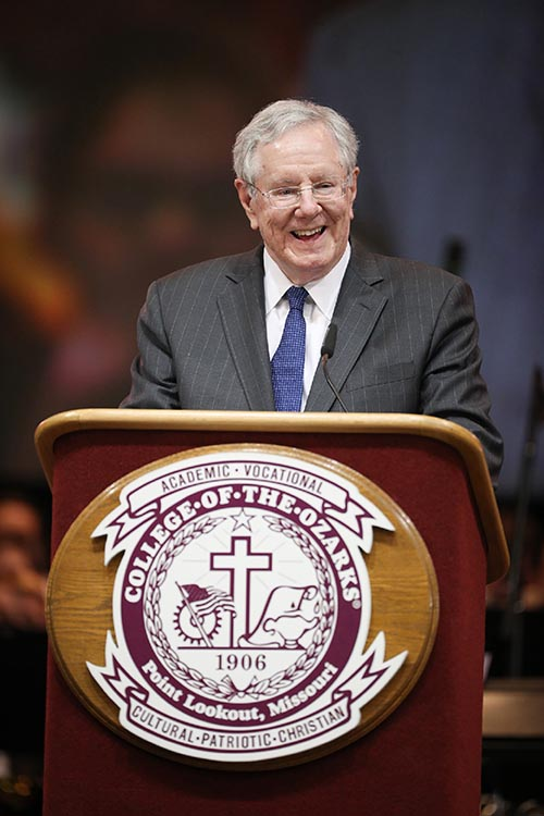 Steve Forbes speaking at convocation