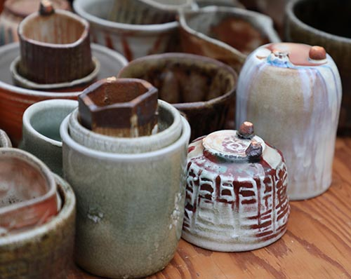 Pottery on wooden table