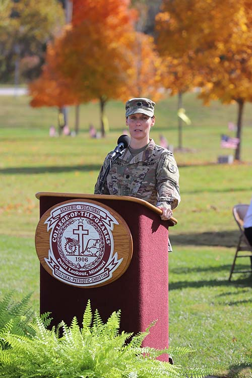 Guest speaker, Lt. Col. Katherine E. Clarke at groundbreaking of The Global War on Terrorism Memorial on C of O campus.