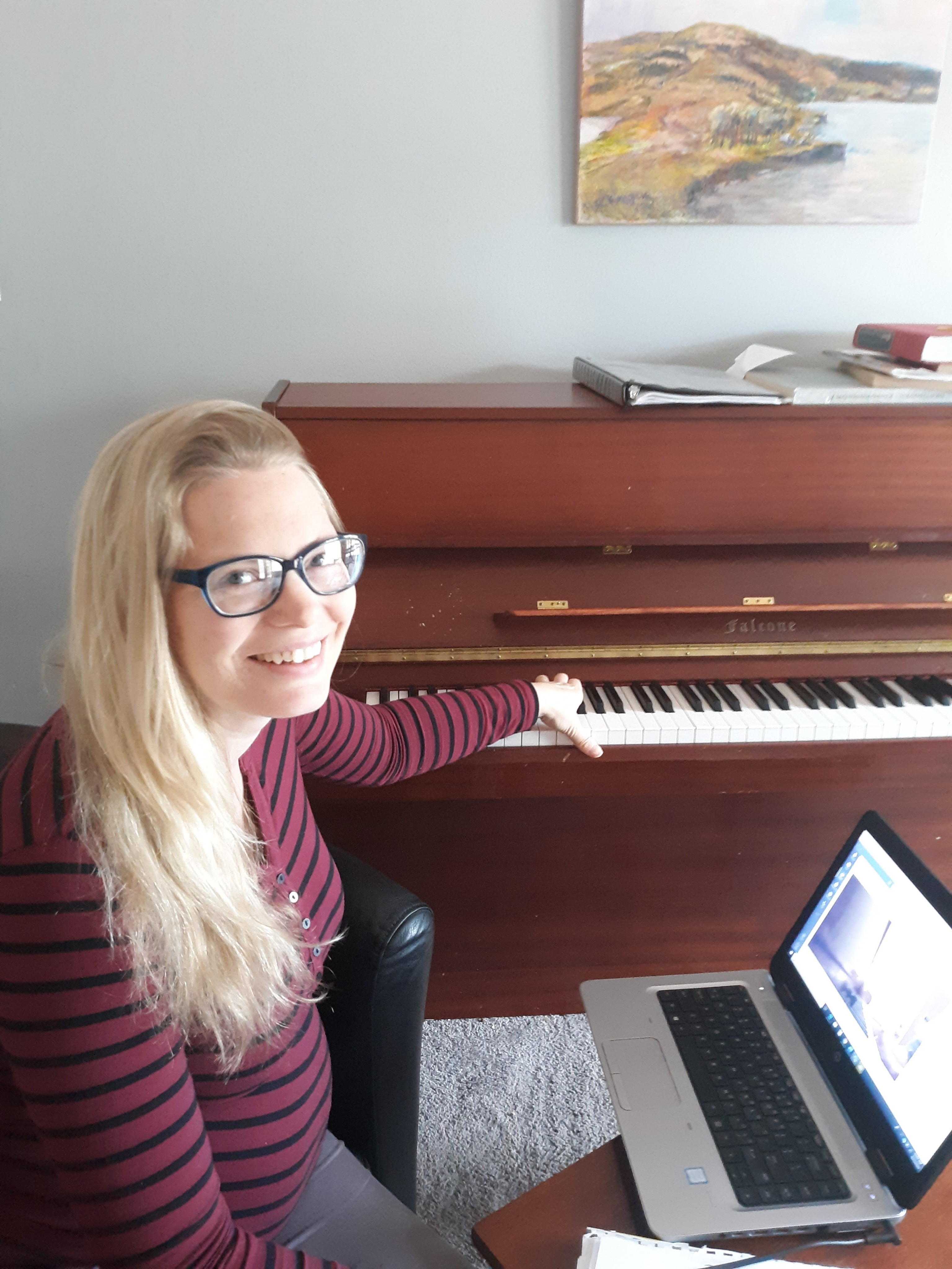 COFO – Dr. Clara Christian – Remote Learning: Dr. Clara Christian, associate professor of music, teaches one-on-one piano lessons online.