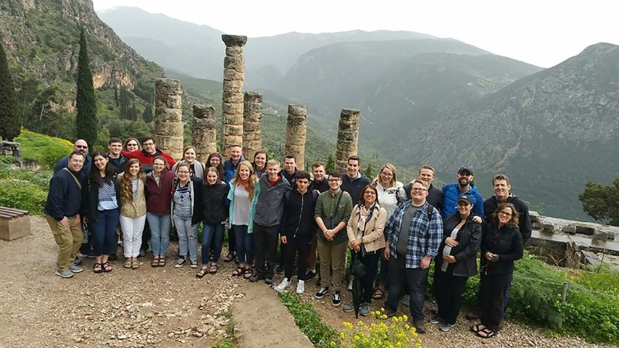 Twenty S of O seniors travel to Delphi Archaeological Site in Greece.