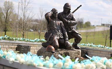 The Korean War Memorial with roses