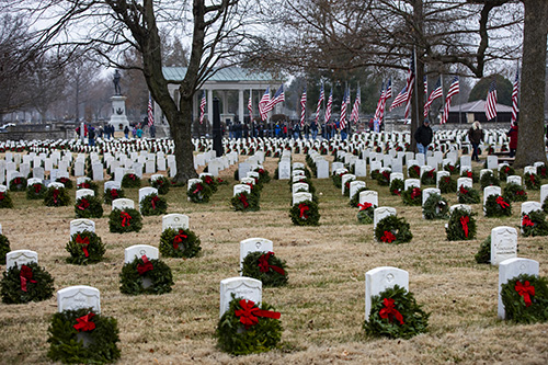 Gravesides with wreaths
