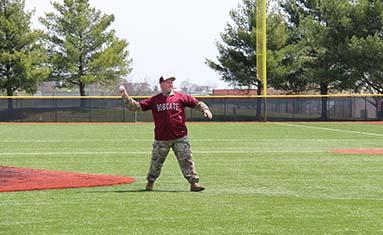 Lt. Col. Bryon G. Galbraith throws first pitch April 21, 2018