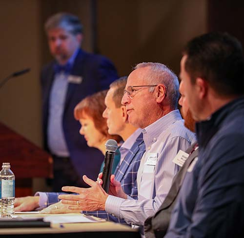 John Baltes, SDC Foundation president, shares on the panel of champions.