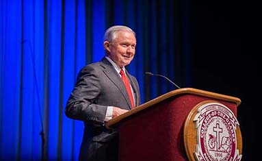 Jeff Sessions, former Attorney General speaks at spring convocation