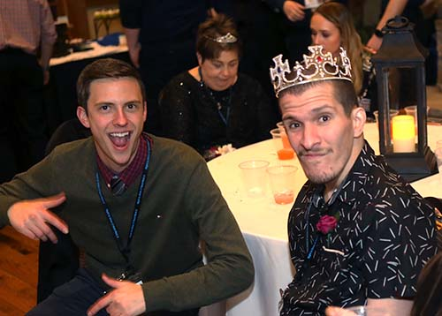 At last year's event, junior Johnny Cummings, public relations major and Spanish minor, enjoys the annual Night to Shine event at College of the Ozarks with his guest, Gabriel Casiano.