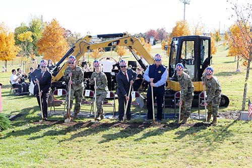 Community and College leaders break ground at The Global War on Terrorism Memorial on Nov 7.