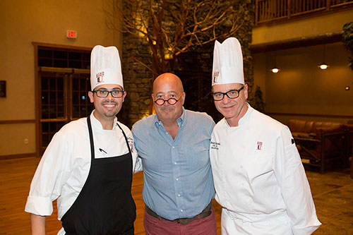 Executive Sous Chef Kyle Houston, celebrity television personality and food expert Andrew Zimmern, and Executive Chef Robert Stricklin during the Travel Channel visit to The Keeter Center at College of the Ozarks.
