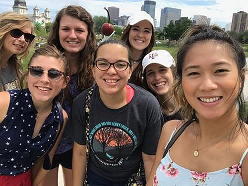 Hailey Alexander (center), senior nursing major at College of the Ozarks, explores Minneapolis with fellow Summer III Nurse Externship Program workers.