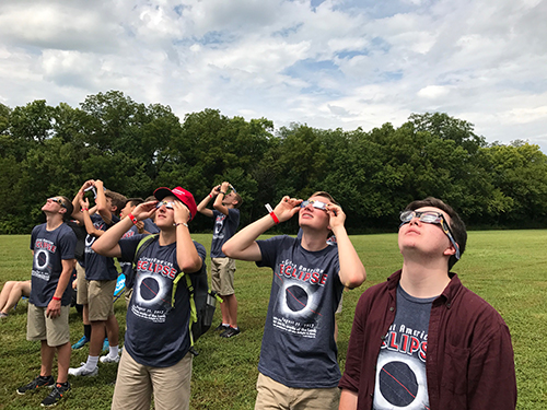 Students viewing the solar eclipse