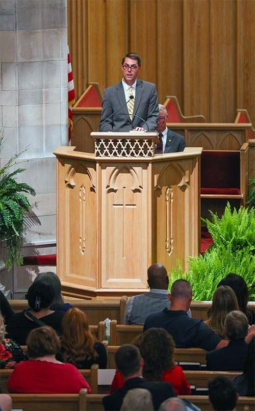 Dean of the Chapel, Justin Carswell reflects on sermon at Ozark Mountain Community Memorial Service.