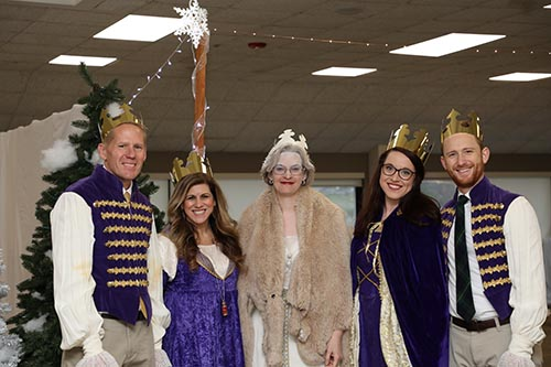 "School of the Ozarks faculty dressed up as ""Narnia"" characters for the students. (L-R) David Lundeen, S of O assistant professor sixth grade; Beth Howard, S of O associate professor of kindergarten; Jenni Carey, K-8 curriculum director/lead teacher; Lindsey Hood, S of O associate professor of fourth grade; and Wesley Saunders, instructor of vocal music S of O."