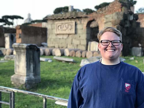 S of O senior visits the Roman Forum during senior trip.