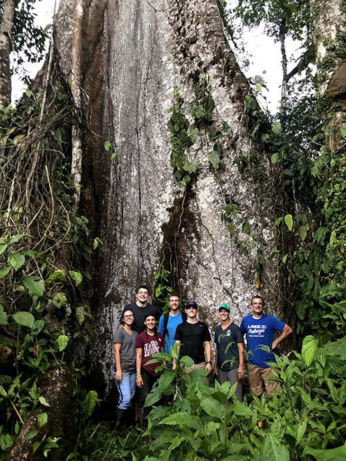 Seniors Mikaila Livingston, Keaton Reich, Madison Bagg, Dalton VanHorn, Nathaniel Moss, Tammy Holder, D. Howard Doane chair of agriculture and associate professor of agriculture, and Mark Hubbard, professor of agriculture, gather in the jungle of Ecuador.