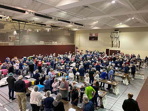 College of the Ozarks hosts Feeding Children Everywhere Meal Packing Event in The Howell W. Keeter Gymnasium.