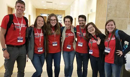 (L-R): senior Kyle Kapella, senior Grace Meiners, senior Abigail Rowe, trip sponsor Erin Blake, senior Marcus Dougherty, junior Noah Burton, junior BettyAnn Jurgensmeyer.