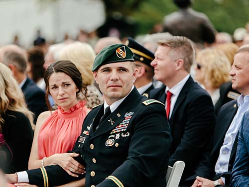 Justin McGee and wife, Lydia, attend memorial dedication.