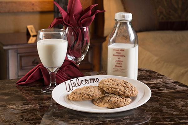 In the evenings our student staff will perform a turndown service that includes fresh milk from the W. Alton Jones Campus Dairy, homemade turndown cookies, and fresh ground coffee.