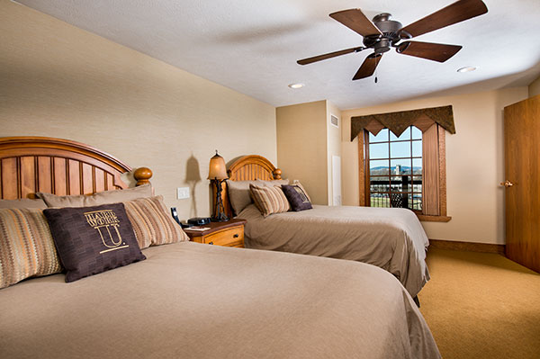 A bedroom with two cleanly 