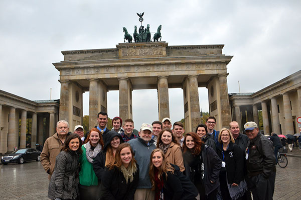 students, Veterans, and sponsors in front of Brandenburg Gate, Berlin