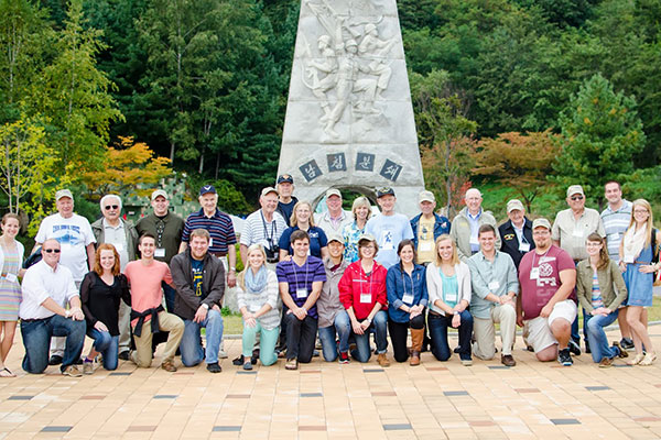 students and sponsors on Korean Peninsula tour