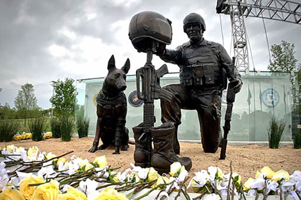 Global War on Terrorism Memorial with yellow roses from dedication ceremony