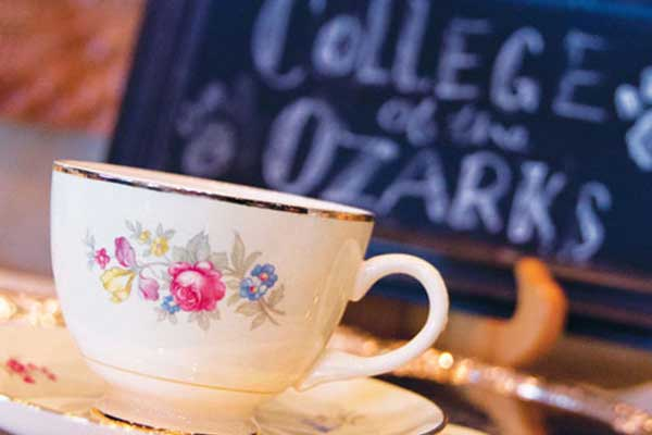 A tea cup at the keeter center afternoon tea event.