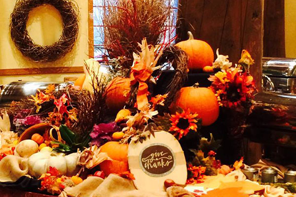 Thanksgiving decorations on display during the Thanksgiving day brunch.
