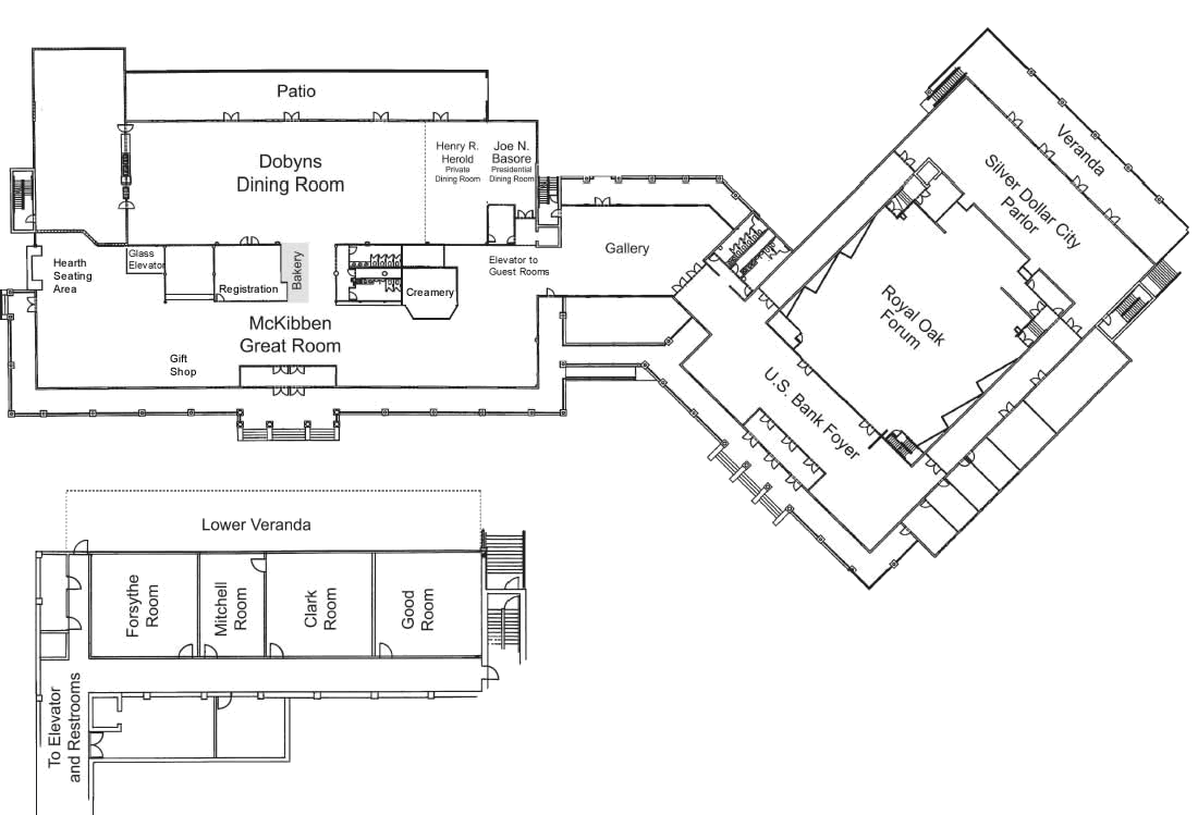 Keeter Center Dining and Meeting Room floor plans.