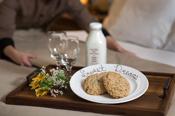 Turndown cookies and dairy-fresh milk at the hotel at The Keeter Center